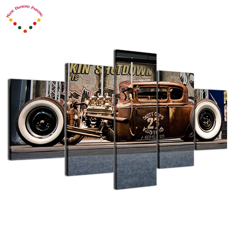 Vintage Car - 5D Diamond Painting Set