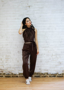Not For Jogging Jogger Pant- shimmering chocolate brown