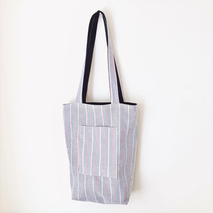 Reversible Tote Bag Reclaimed Fabric - Organic Bags Canada - LittlePlasticFootprint