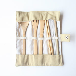 Bamboo Cutlery Set and Roll - Basic Basket - LittlePlasticFootprint