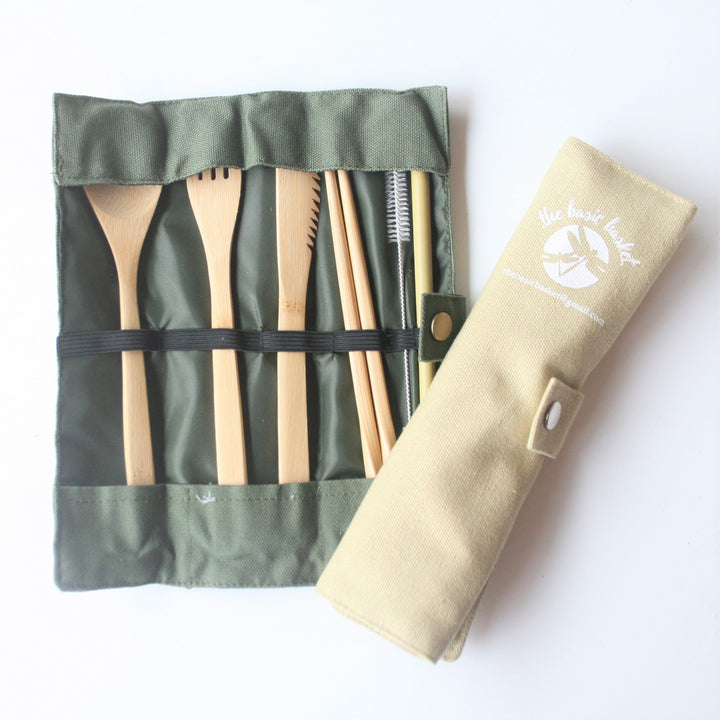 Bamboo Cutlery Set and Roll - Basic Basket