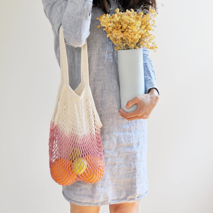 Hand Dyed Crotchet Net Bag - OOWLSTUDIO - LittlePlasticFootprint