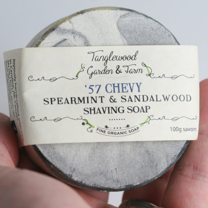 Organic Shaving Soap (57 Chevy Spearmint & Sandalwood) - Tanglewood Garden & Farm - LittlePlasticFootprint