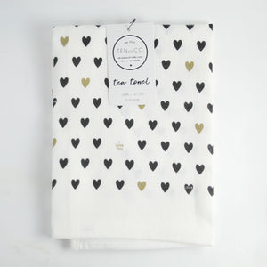Tea Towel (Black & Gold Hearts) - Ten & Co - LittlePlasticFootprint