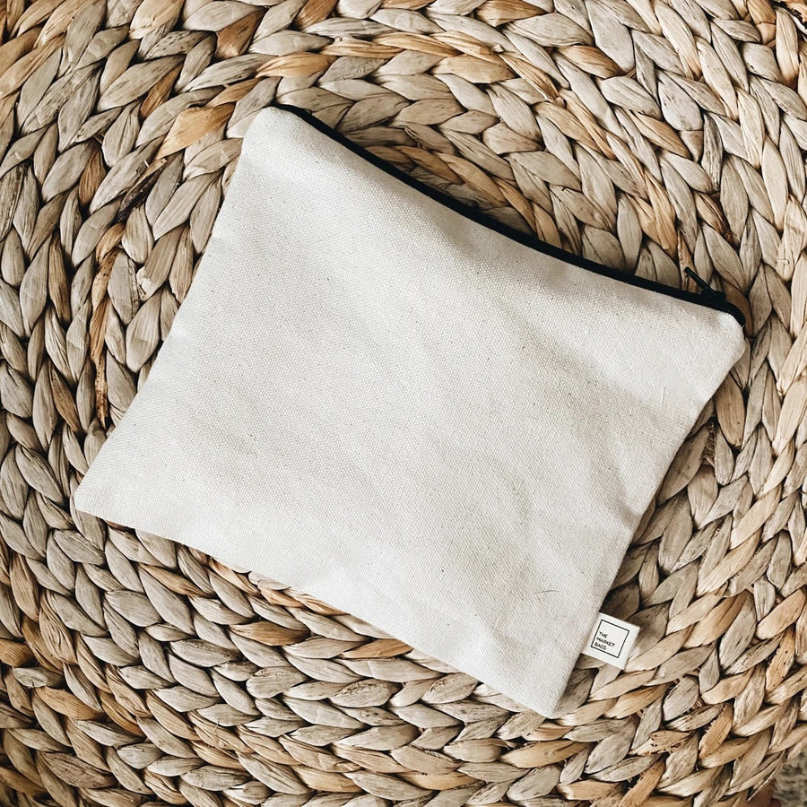 Organic Cotton Canvas Zip Pouch- The Market Bags - LittlePlasticFootprint