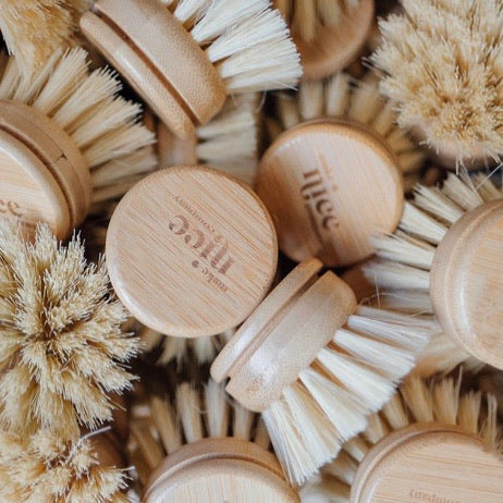 Dish Brush - Beachwood & Agave Fiber with Replaceable Head - Make Nice - LittlePlasticFootprint