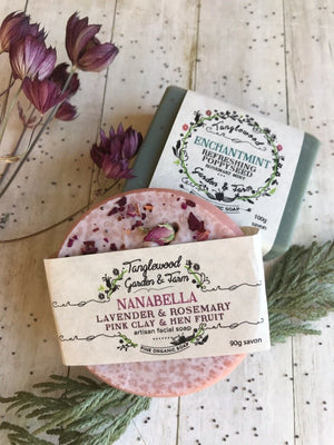 Nanabella - Lavender & Rosemary with Pink Clay & Hen Fruit Facial Soap - Tanglewood Garden & Farm - LittlePlasticFootprint
