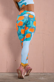 Colorful fun orange and blue and green art print cute fun funky one of a kind ankle high waist legging tights womens