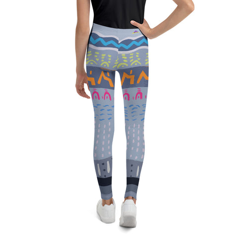 Hieroglyph youth and kids original art printed athleisure yoga pants leggings stylish premium fabric and durable construction