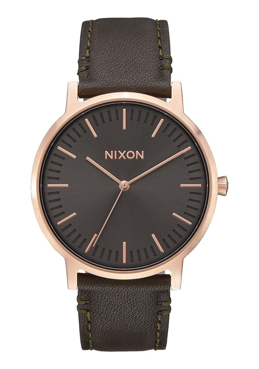 Nixon The Porter Leather Rose Gold/Gunmetal/Surplus