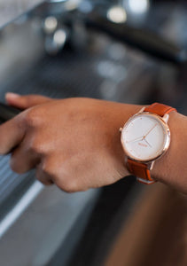 Nixon The Kensington Leather Rose Gold/White