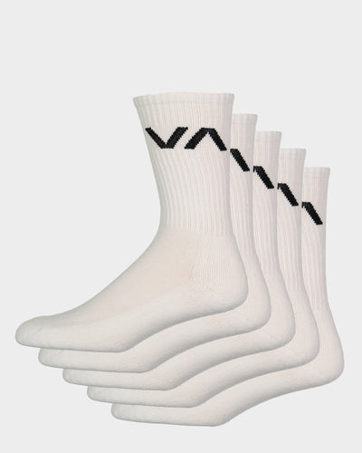 RVCA VA Sport Sock White - 5 Pack