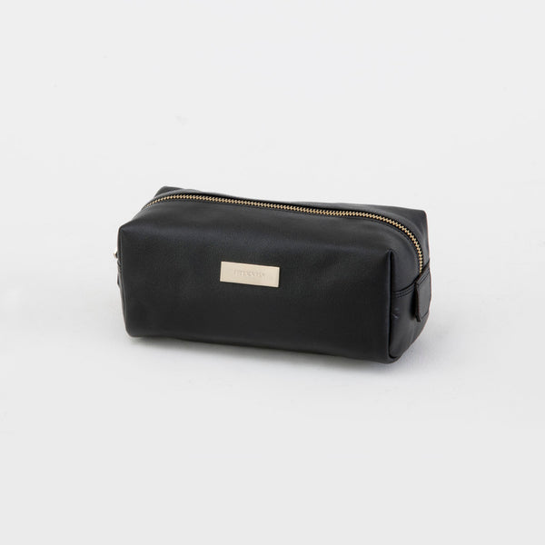 Kinnon Black Leather Toiletries Pouch