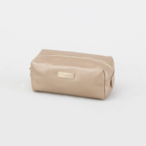 Kinnon Leather Toiletries Pouch in Gold