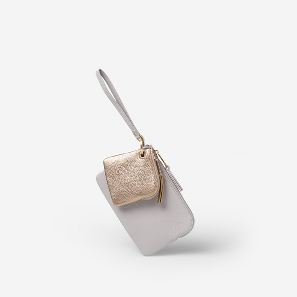 EADIE CLUTCH - DOVE GREY/GOLD