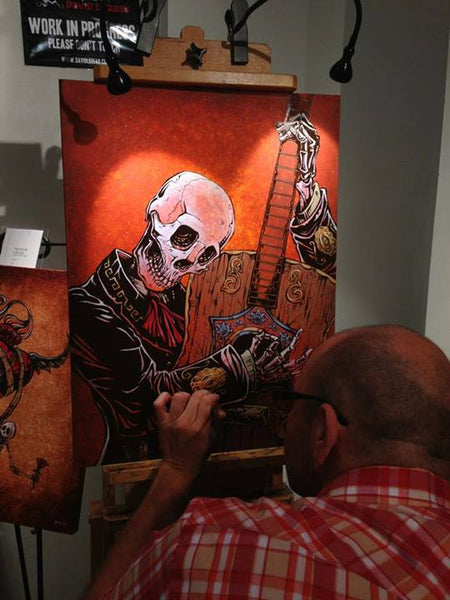David Lozeau Skeleton Mariachi Painting