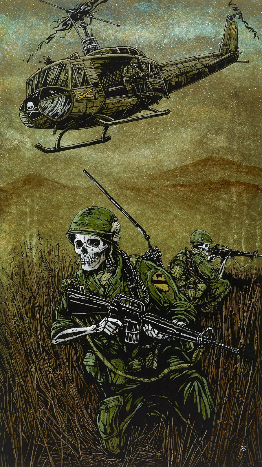 1st Air Cav by Day of the Dead Artist David Lozeau, Day of the Dead Art, Dia de los Muertos Art, Dia de los Muertos Artist