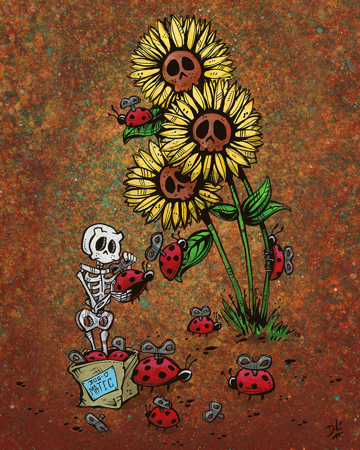 Bug-o-Matic by Day of the Dead Artist David Lozeau, Day of the Dead Art, Dia de los Muertos Art, Dia de los Muertos Artist