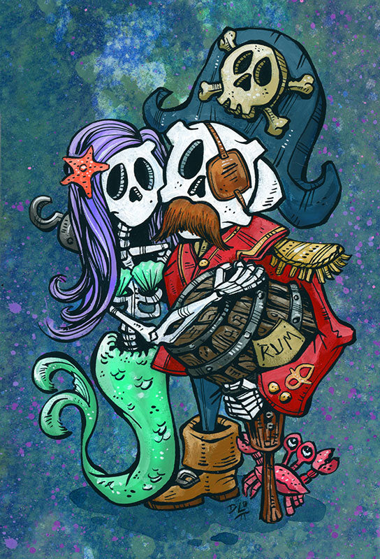 Captain and Teal by Day of the Dead Artist David Lozeau, Day of the Dead Art, Dia de los Muertos Art, Dia de los Muertos Artist