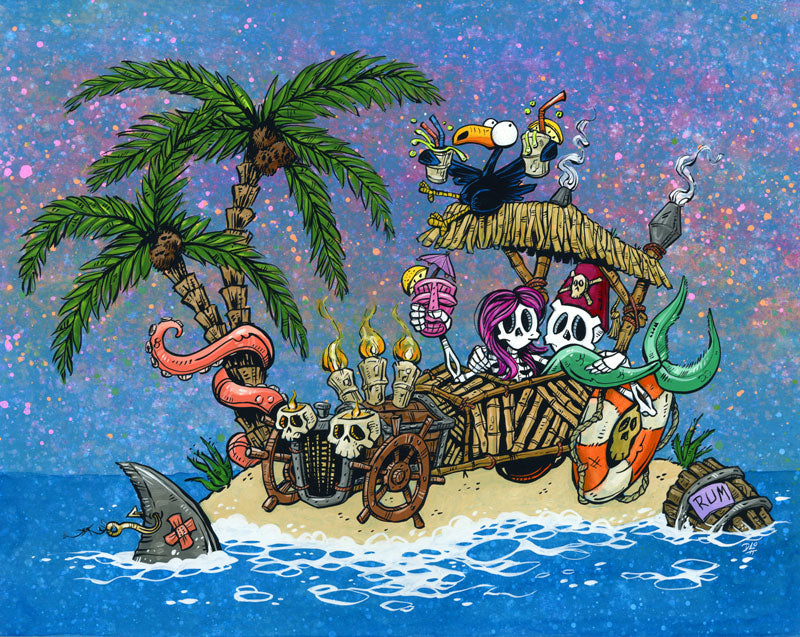 Carefree Castaways by Day of the Dead Artist David Lozeau, Day of the Dead Art, Dia de los Muertos Art, Dia de los Muertos Artist