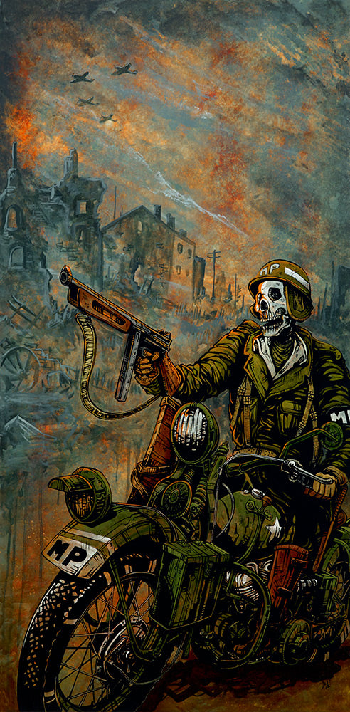 Charging to the Front by Day of the Dead Artist David Lozeau, Day of the Dead Art, Dia de los Muertos Art, Dia de los Muertos Artist