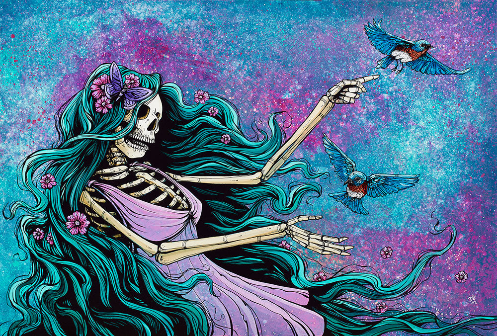 Ethereal Beauty by Day of the Dead Artist David Lozeau, Day of the Dead Art, Dia de los Muertos Art, Dia de los Muertos Artist