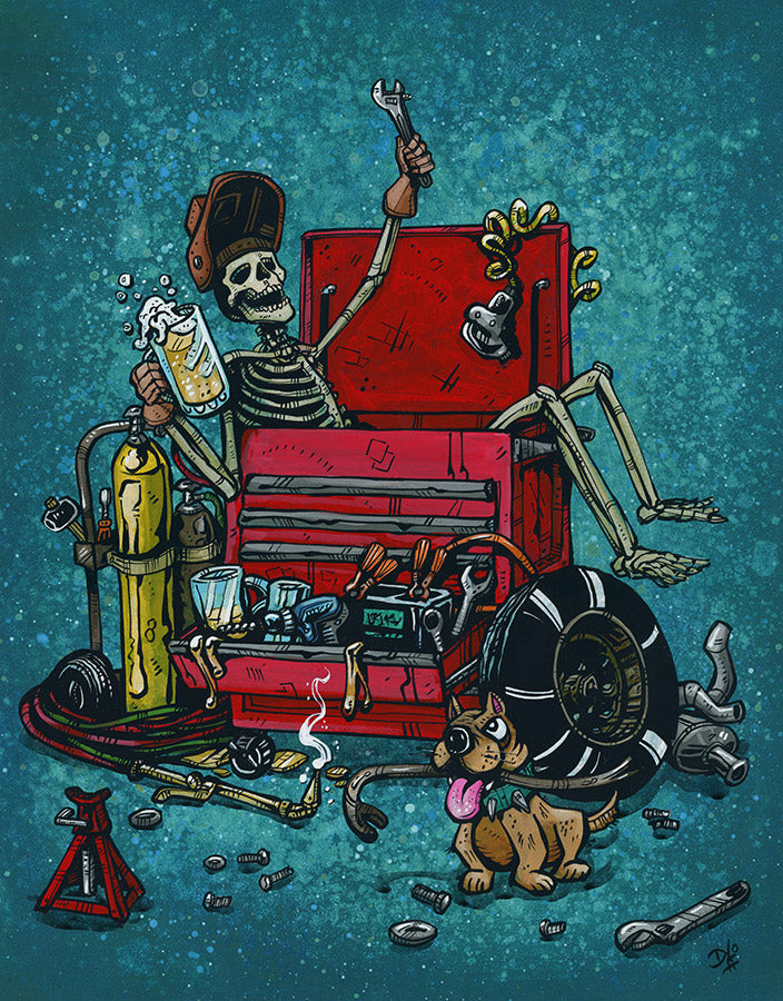 Garage Life by Day of the Dead Artist David Lozeau, Day of the Dead Art, Dia de los Muertos Art, Dia de los Muertos Artist