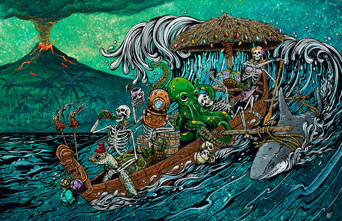 Day of the Dead Artist David Lozeau, Party Barge, Dia de los Muertos, Sugar Skull