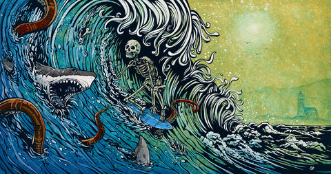 Day of the Dead Artist David Lozeau, R.I.P. Current, Oceanic Art, David Lozeau Dia de los Muertos Art - 1