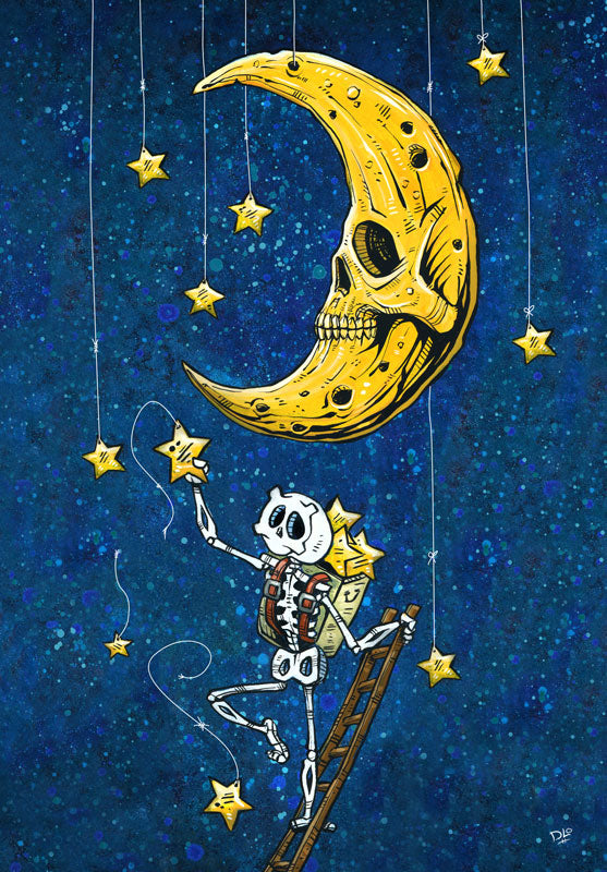 Reaching for the Stars by Day of the Dead Artist David Lozeau, Day of the Dead Art, Dia de los Muertos Art, Dia de los Muertos Artist