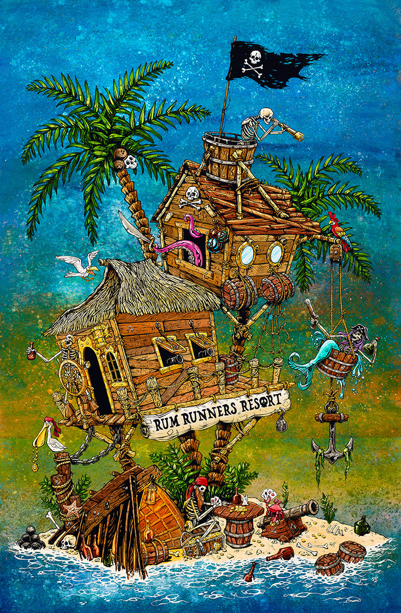 Rum Runners Resort by Day of the Dead Artist David Lozeau, Day of the Dead Art, Dia de los Muertos Art, Dia de los Muertos Artist