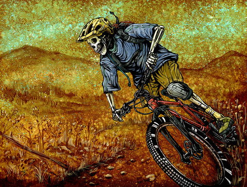 Day of the Dead Artist David Lozeau, Singletrack, Dia de los Muertos, Sugar Skull