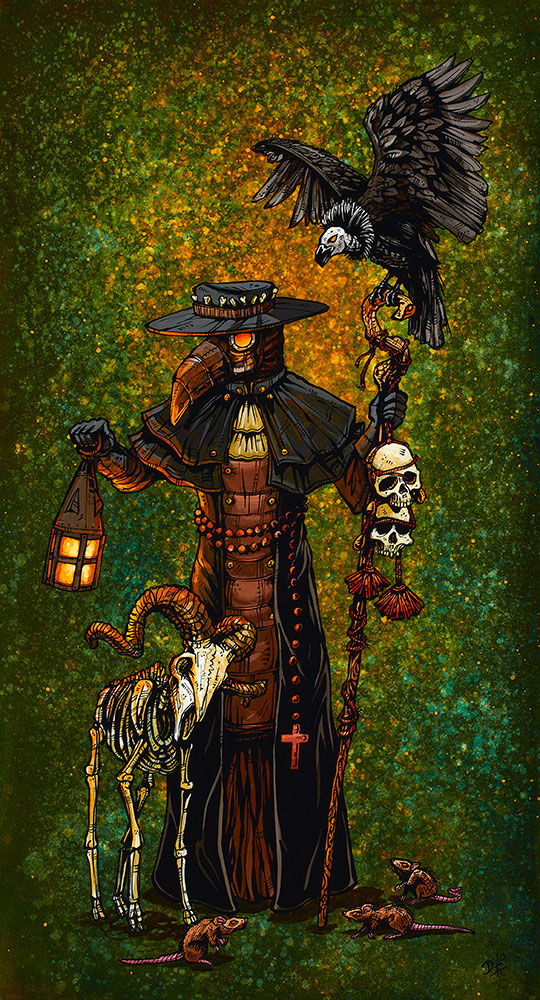 Plague Doctor by Day of the Dead Artist David Lozeau, Day of the Dead Art, Dia de los Muertos Art, Dia de los Muertos Artist