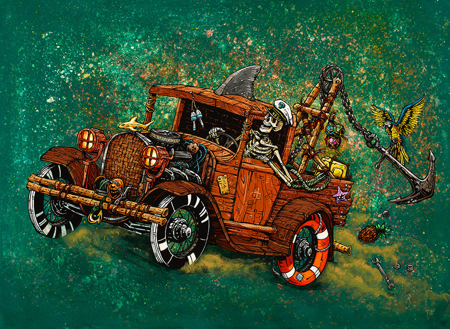Tiki Towing by Day of the Dead Artist David Lozeau, Day of the Dead Art, Dia de los Muertos Art, Dia de los Muertos Artist