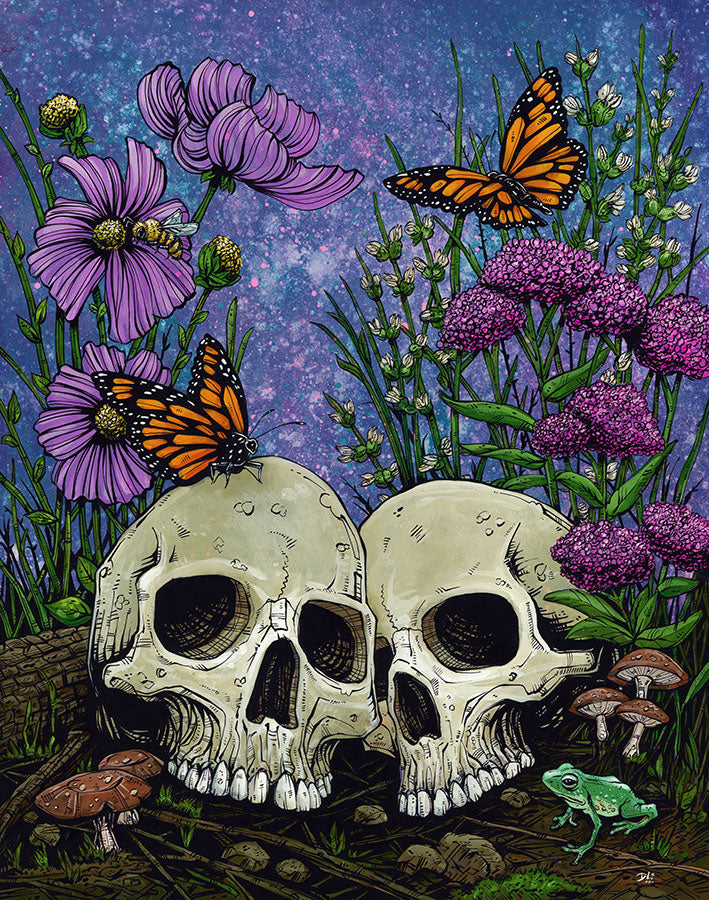 Together Forever by Day of the Dead Artist David Lozeau, Day of the Dead Art, Dia de los Muertos Art, Dia de los Muertos Artist