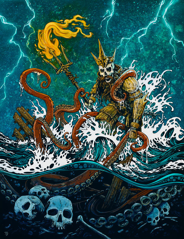 Treacherous Waters by Day of the Dead Artist David Lozeau, Day of the Dead Art, Dia de los Muertos Art, Dia de los Muertos Artist