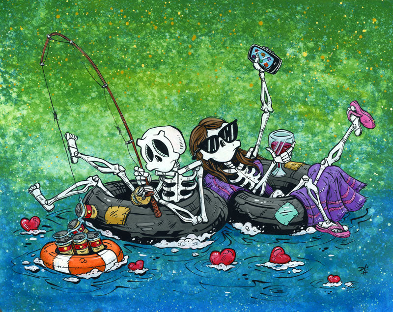 Two for Tubing by Day of the Dead Artist David Lozeau, Day of the Dead Art, Dia de los Muertos Art, Dia de los Muertos Artist