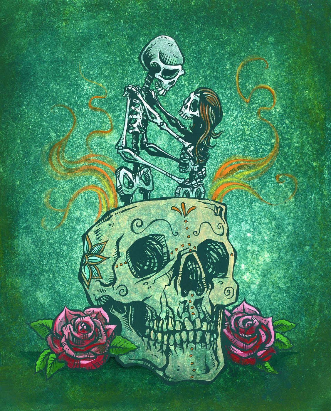 Amor Eterno by Day of the Dead Artist David Lozeau, Day of the Dead Art, Dia de los Muertos Art, Dia de los Muertos Artist