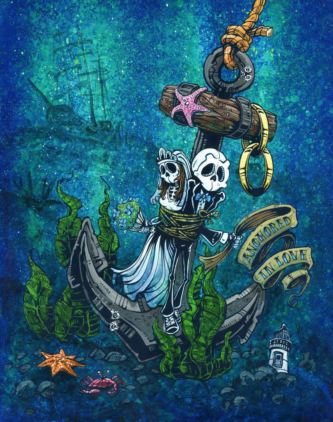 Anchored in Love by Day of the Dead Artist David Lozeau, Day of the Dead Art, Dia de los Muertos Art, Dia de los Muertos Artist