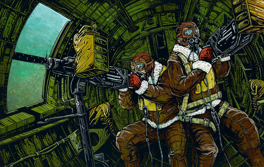 B-17 Waist Gunners by Day of the Dead Artist David Lozeau, Day of the Dead Art, Dia de los Muertos Art, Dia de los Muertos Artist