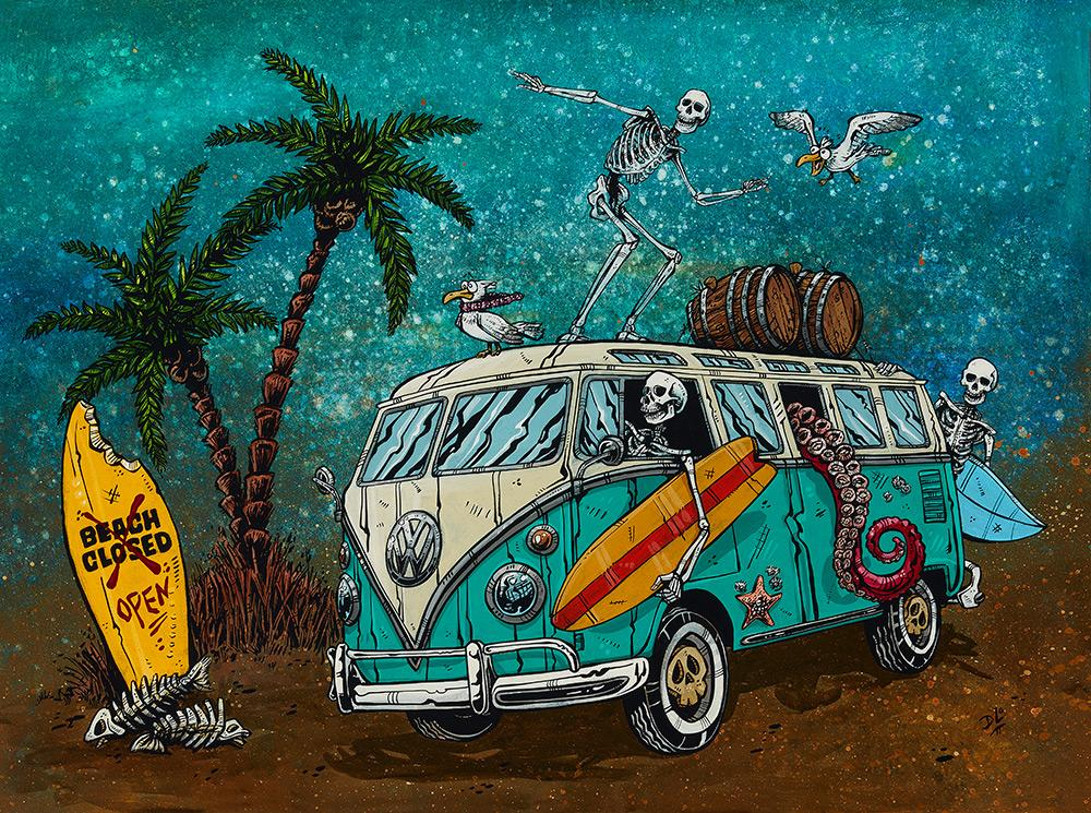 Beach Break by Day of the Dead Artist David Lozeau, Day of the Dead Art, Dia de los Muertos Art, Dia de los Muertos Artist