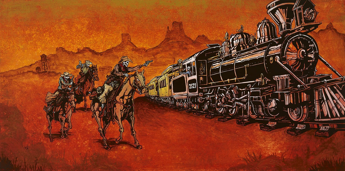 Big Iron by Day of the Dead Artist David Lozeau, Day of the Dead Art, Dia de los Muertos Art, Dia de los Muertos Artist
