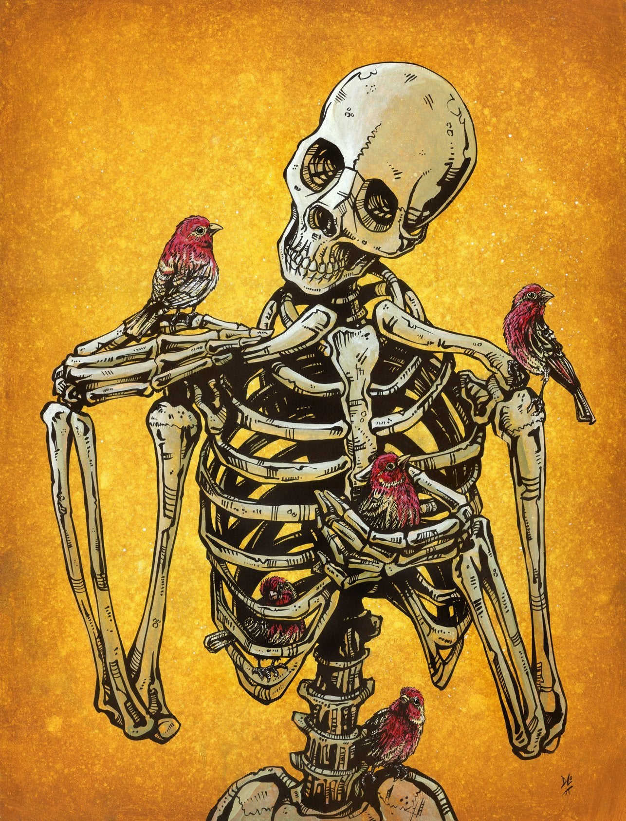Birds of a Feather by Day of the Dead Artist David Lozeau, Day of the Dead Art, Dia de los Muertos Art, Dia de los Muertos Artist