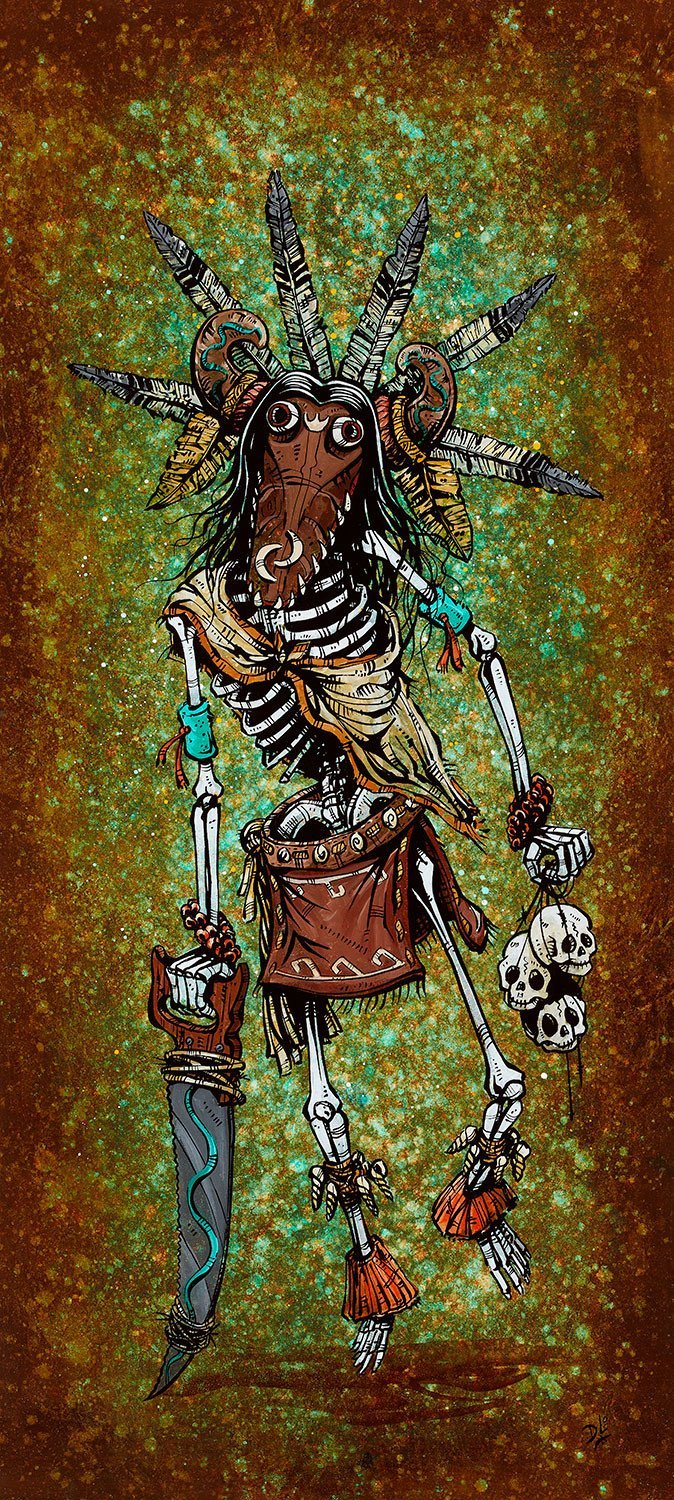 Black Ogre Kachina by Day of the Dead Artist David Lozeau, Day of the Dead Art, Dia de los Muertos Art, Dia de los Muertos Artist
