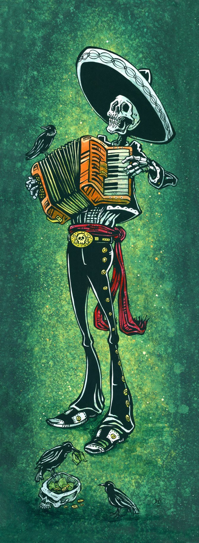 Blissful Bellows by Day of the Dead Artist David Lozeau, Day of the Dead Art, Dia de los Muertos Art, Dia de los Muertos Artist