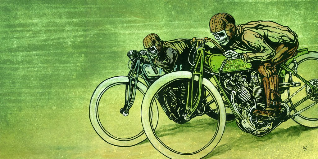 Board Track Racers by Day of the Dead Artist David Lozeau, Day of the Dead Art, Dia de los Muertos Art, Dia de los Muertos Artist