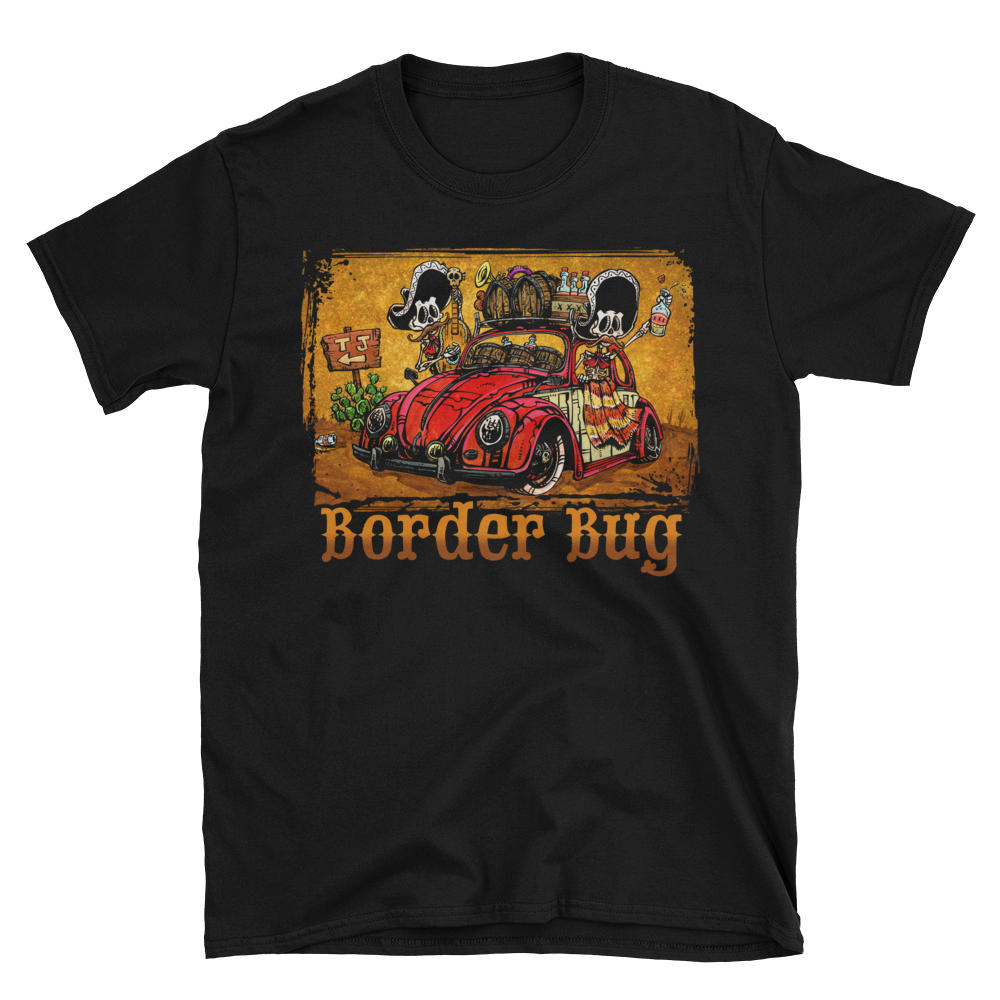 Border Bug Shirt by Day of the Dead Artist David Lozeau, Day of the Dead Art, Dia de los Muertos Art, Dia de los Muertos Artist