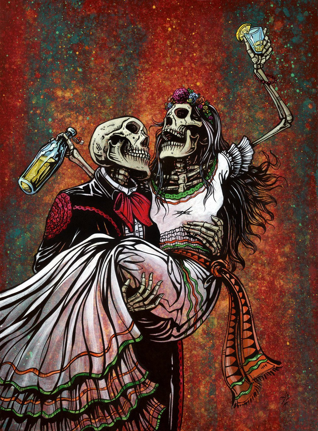 Bottoms Up by Day of the Dead Artist David Lozeau, Day of the Dead Art, Dia de los Muertos Art, Dia de los Muertos Artist