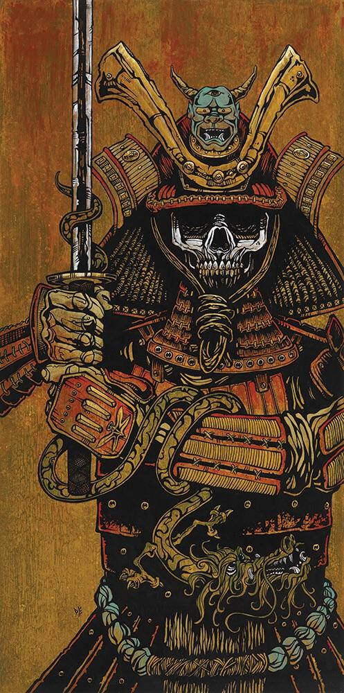 By the Sword of the Samurai by Day of the Dead Artist David Lozeau, Day of the Dead Art, Dia de los Muertos Art, Dia de los Muertos Artist