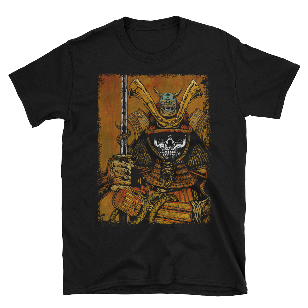 By the Sword of the Samurai Shirt by Day of the Dead Artist David Lozeau, Day of the Dead Art, Dia de los Muertos Art, Dia de los Muertos Artist